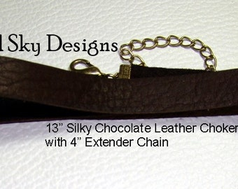 Pick Your Set of 4 PREMIUM Smooth Leather Chokers - Choker Leather Supply - Leather Necklace - Cowhide Necklace - Leather Jewelry -