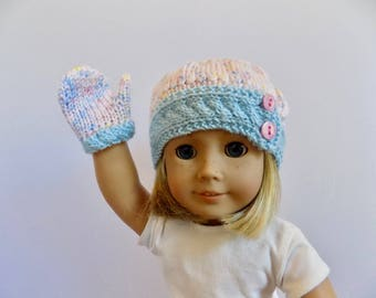 Doll Hat and Mittens Set, 18 Inch Doll Clothes, Knit Doll Beanie