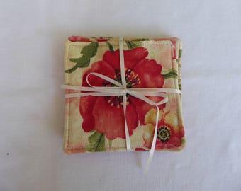 Handmade coasters, flower theme, mug rug