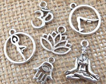 6 Assorted YOGA Charms in Antique/Tibetan Silver - Charm Collection Each One Different - Om, Lotus Flower, Hamsa, Downward Dog, Tree Pose