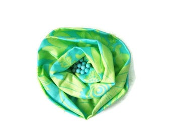 Fabric Flower Brooch Fabric Pin Blue Green Flower Brooch