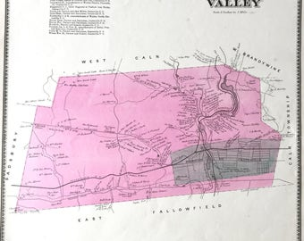 Original 1873 Chester County Pennsylvania Atlas map of Valley township  Coatesville
