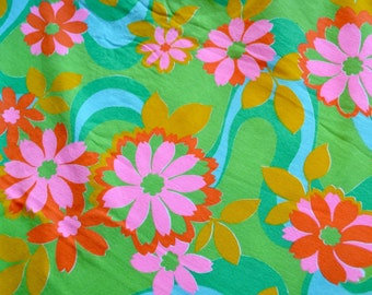 Vintage Fabric - Mod Pink Orange Hawaiian Flowers on Green - By the Yard