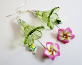 Long Translucent Spring Green Trumpet Earring Pink White Crystal Rhinestone Dangle Flowers AB Czech Cut Crystal Pierced Spring Easter Summer