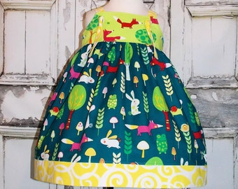 Foxes Creatures & Critters Knot Jumper Dress 12M 18M 24M 2 3 4 5 6 7 8 10 12 14 Custom Birthday Forest Woodland Bunny Rabbit Mouse Snail