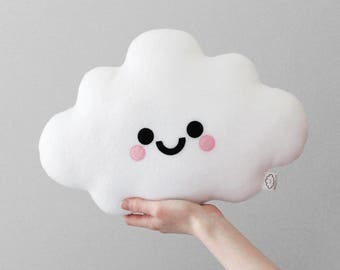 White Cloud Cushion, Happy Face Pillow, Kawaii Plush Pillow, Soft Plush Room Accessory