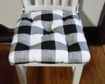 Tufted chair pads, seat cushions, Anderson buffalo plaid, check, cotton, bench cushion, bar stool cushion, chair pads