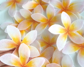 32 hawaiian edible flowers - bright yellow Hibiscus - edible flower -  yellow wedding cake - plumeria wedding flower -  Uniqdots on Etsy