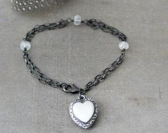 Silver Charm Bracelet, Heart Charm, Sterling Silver Bracelet, Oxidized Silver Chain Bracelet, Push Present Bracelet, Puffy Heart Charm