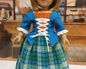 Suzy Custom Order     Outlandish Outfit .. peplum bodice, petticoat skirt, bum roll, and stomacher fits 18 inch American girl