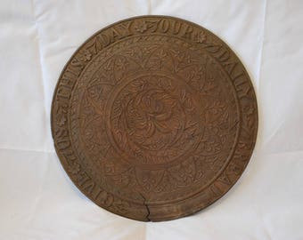 "Antique heavily carved hardwood bread board -  ""Give us this day our daily bread"""