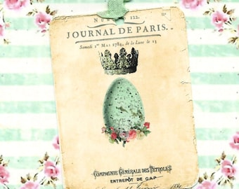 Tags, Easter, French Style, Egg, Crown, Easter Gift Tags, Flowers