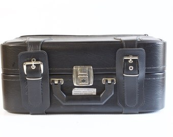 Vintage Carry On Luggage by J & AR, Finland - Black and gray bag