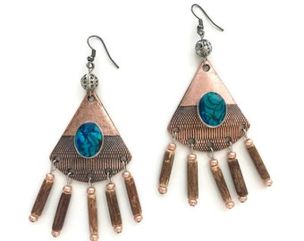 Womens Stunning Copper, Wood and Shell Chandelier Drop Earrings in Copper, Blue, Brown