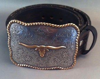 Vintage Texas Longhorn Silver plate Belt Buckle w/ Illumina Leather Belt, Western Wear, Cowboy Belt Buckles,Urban Cowgirl, **USA ONLY**