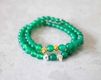 Irya bracelet - 6mm green chalcedony with gold or matte silver pewter leaf gemstone bead bracelet