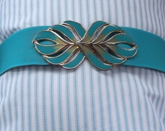 Turquoise Elastic Stretch Belt with Gold and Turqouise Enamel Buckle