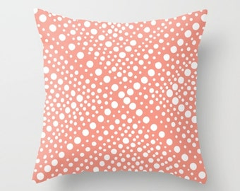 OUTDOOR Throw Pillow - Peach and White Patio Custhion - Modern Geometric Outside Pillow - Outdoor Pillow 16 18 20 inch - Peach Pillow