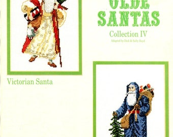 Olde Santas IV Victorian Undecorated Fir Tree Walking Stick Red Blue Robe Hat Counted Cross Stitch Embroidery Pattern Craft Leaflet L-12