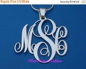 "15% Off 2""  wide Pendant: Personalized Monogram necklace or pendant necklace, sterling silver"