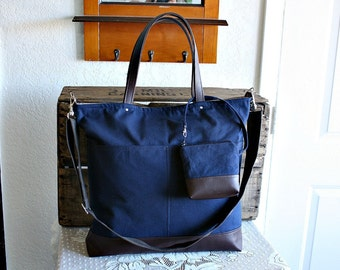 Canvas and vegan leather totebag/ carryall/ tote /messenger/ crossbody purse/Matching pouch included navy brown colors- READY