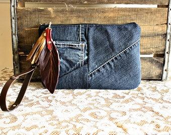 Canvas clutch wristlet /pouch/ wallet/ makeup pouch metal zipper purse denim indigo Leather trim multiple pockets- READY--