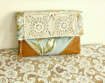 Floral foldover clutch handbag pouch leather trim clutch  -- Ready to Ship