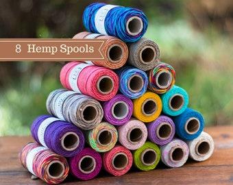 8 Spools, Bulk Hemp Cord, 1mm, Macrame Cord,   Hemptique Brand, Choose The Colors