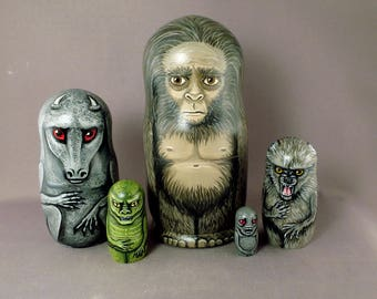 Sasquatch Legends Nesting Dolls Jersey Devil Cupacabra Beast of Bray Road Lizard Man Matryoshka Set of 5