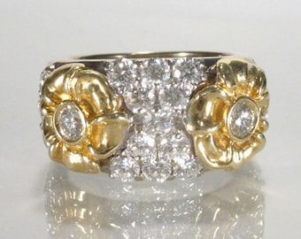 Vintage Diamond Ring - 18K Yellow & White Gold - 1.60 Carat Diamond Total Weight - Appraisal Included