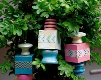 Geometrical Block Wood Ornaments