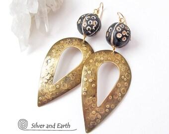 Tribal Spear Earrings, African Earrings, Brass Earrings, Big Bold Earrings, Large Dangle Earrings, Metalwork Jewelry, Exotic African Jewelry
