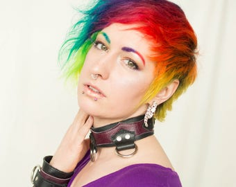 Made to Order- Steampunk Leather Bondage Collar- Pick Your Colours- 3 Welded D Rings- BDSM, Necklace, Burning Man, Kink, Fetish