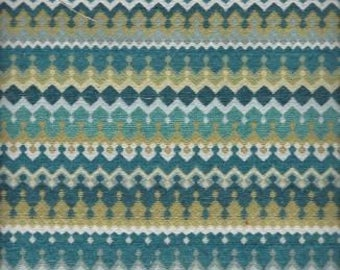 Multicolor Fabric Remnants -Two Pieces, Stripe Contemporary Pattern,Teal,Aqua,Blues,Green,Upholstery,Crafts,Bags,Free Shipping.