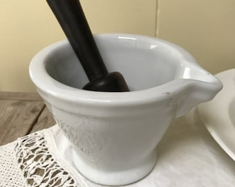 White Ironstone French Mortar Pestle Bowl  Decor Farmhouse Farm House Country Rustic Prairie Peasant Kitchenware