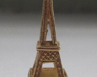 """14K Yellow Gold, Paris France 1 1/8"""" Tall Eiffel Tower Pendant or Charm  Layaway Available"""
