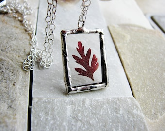 Red Fern Necklace, Framed Glass Pendant Necklace, Pressed Flower Necklace, Soldered Glass Jewelry, Nature Necklace