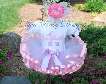 lavender and pink 1st birthday outfit girl 2nd 3rd 4th 5th 6th ribbon trimmed tutu outfit personalized with age and name