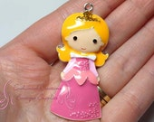 "2"" Princess Aurora With Gold Crown In Pink Dress Inspired Charm, Chunky Pendant, Keychain, Bookmark, Zipper Pull, Chunky Jewelry Purse Charm"