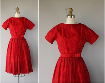 1950s Red Party Dress | 50s Party Dress | 1950s Dress | 50s Prom Dress | 1950s Chiffon Dress (small)