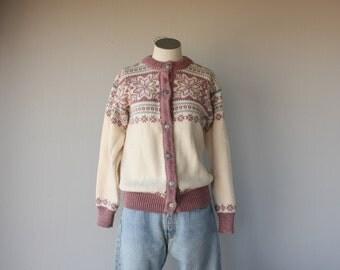 Vintage Pink Fair Isle Cardigan |  Wool Cardigan | Handknit Norwegian Cardigan | Snowflake Cardigan | Fair Isle Sweater | Wool Cardigan