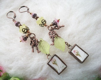 Broken China Earrings, Extra Long Recycled Jewelry Broken Vintage China Plates and Cups Handmade Bezel Tiny Moss Rose Bud