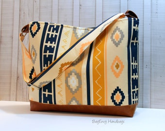 READY To SHIP - SALE- Aztec Bound with Vegan Leather - Messenger Tote Bag /  Diaper Bag - Medium Bag