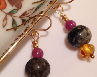 Leland Blue Stone Amber Ruby Dangle Earrings FREE Shipping