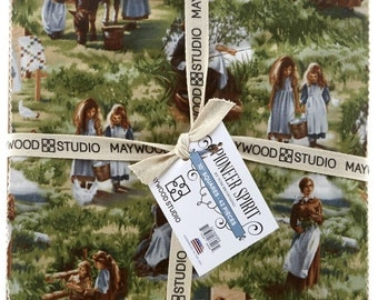 NEW!  Maywood Studio Pioneer Spirit 10 Inch Squares 42 Pieces Pre-Cut Cotton Fabric Layer Cake Little House on the Prairie