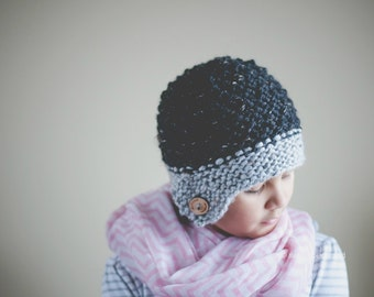 Button Hat, Hat with Button, Winter Hat, Girl hat, classic hat