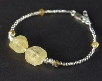 Citrine and sterling silver Bracelet, Gemstone Bracelet, Citrine Jewelry, Gemstone Jewelry, November Birthstone
