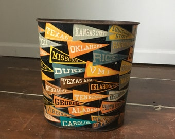 Vintage 1950's College Football Sports Pennant Trash Can