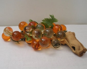 Vintage Orange Acrylic Grapes on Driftwood
