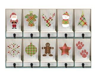 White stocking holder, angel, reclaimed wood, family stockings, pet stocking holder, plaid stockings, stocking hooks, stocking holders